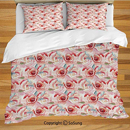 Soefipok Rose Bettwäsche Bettbezug-Set, künstlerische Rosenblüten in Aquarell-Stil Retro Revival Garden Meadow Pattern Dekorative dekorative 3 Stück Bettwäsche-Set mit 2 Pillow Shams, Multicolor -