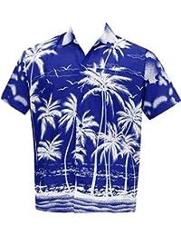La Leela régulière camp ajustement hawaïen manches courtes bouton des hommes de bas chemise hawaïen bleu