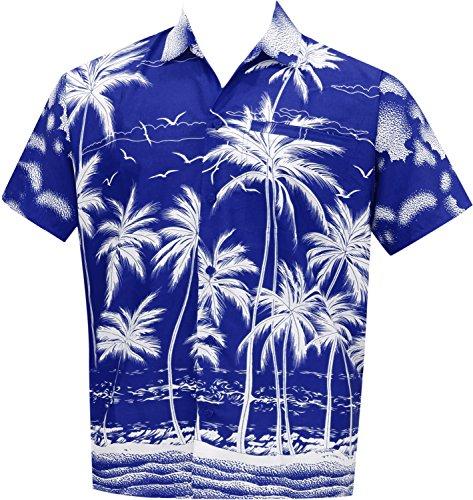 La Leela Männer Regular Fit Lager Hawaiische Kurze Ärmel Knopf Unten Hawaiihemd Blau m (Kurzarm-shorts Hawaiian)