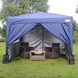 Quictent 3x3 Meter Navy Blue Pop Up Tent Gazebo Silvox Coated Waterproof UV-resistance Sidewalls Wedding Party Tent Carport Outdoor Garden Canopy Marquee With Wind Support Bar Weight Bag Sand Bag