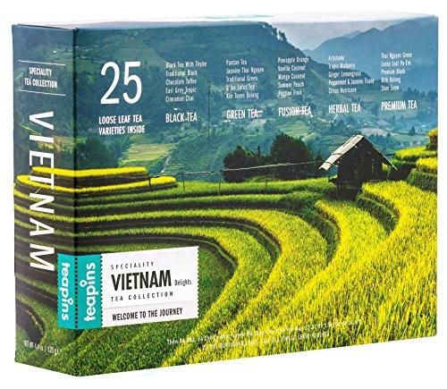 Teapins Vietnam Delights | Té Set de Regalo de Primera Calidad Delicias de Obsequio de 25 tés en hebras de 125g, una Auténtica Colección Perfecta para los Amantes del Té