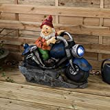 Christow Garden Gnome Water Fountain Large Luxury Water Features (Motorbike Gnome)