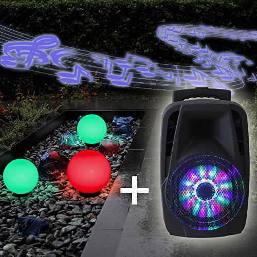 Kugelleuchten 3er Party Set + RGB Farbwechsel + mobile Soundanlage 300W + Mikrofon| Gartenbeleuchtung 2x20 cm, 1x30cm Ø, Außenleuchten, weiße Gartenlampen, Innen & Außen, Gartenkugeln Soundbox