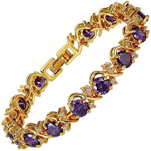 RIVA Blume Tennis Armband [18cm/7inch] mit Rundschliff Edelstein Zirkonia CZ [Lila Amethyst] in 18K Gelbgold Vergoldet, Einfache Moderne Eleganz