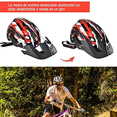 Cycle Helmet, Lightweight Mountain Bike Helmet 300g 56-60cm with Detachable Sun Visor,Adjustable Fit,15 Vetns MTB Bicycle Helmet for Adult Men and Women