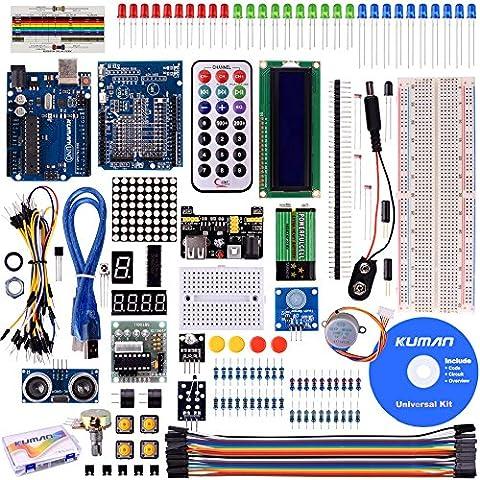 Kuman Proyecto super Starter Kit para Arduino Uno R3 MEGA2560 mega328 nano kits incluidos R3 junta