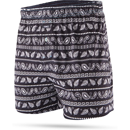 Stance The Boxer Cotton Boxer Shorts Small Paisley Stripes Black -