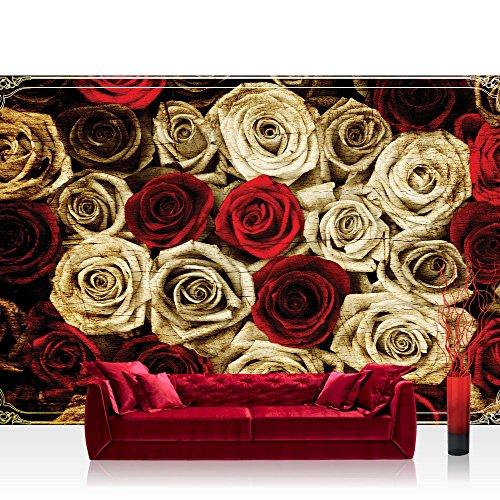 Fototapete 254x184 cm PREMIUM Wand Foto Tapete Wand Bild Papiertapete - Blumen Tapete Rosen Blume Blüte Pflanze Liebe Ornamente Rahmen sepia - no. 2410