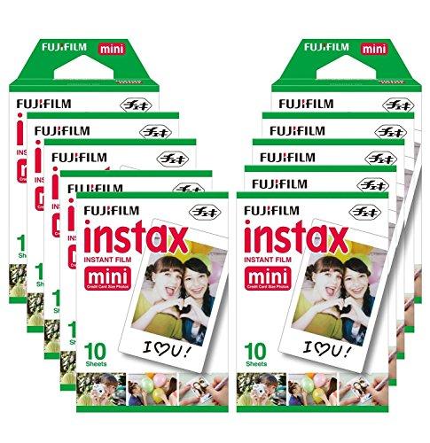 Fujifilm Instax Mini Brillo - Pack de 100 películas fotográficas instantáneas (10 x 10 hojas), color blanco