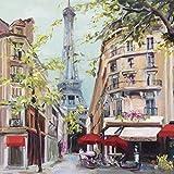 Eurographics Leinwandbild, Springtime in Paris, Eiffelturm, Gemälde, Bunt, 30 x 30 x 3,5 cm