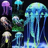 Uniclife Leuchtende Quallen als Dekoration für Aquarium, 6 Stück