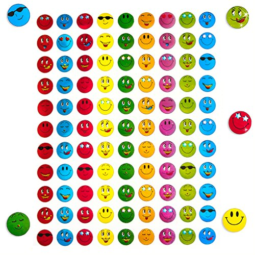 Oblique Unique® 900 x Smiley Face Sticker I Bunt I Glänzender Metallic Look I Niedliche Dekoration