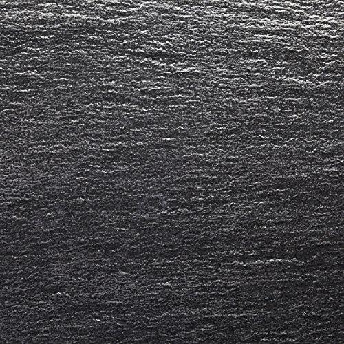 Wallario Glasbild Muster schwarze Schiefertafel Optik Steintafel - 50 x 50 cm in Premium-Qualität: Brillante Farben, freischwebende Optik