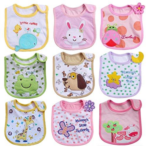 ElecMotive 9 teilige Babylätzchen Weiches Wasserdicht Lätzchen aus Cotto passen Neugeborenes Wasserdichtes Baby Lätzchen mit Klettverschluss 0-24 Monaten (Mädchen)