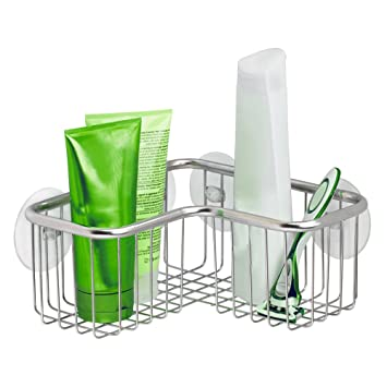 InterDesign Forma Ultra Corner Shower Basket, Stainless Steel Shower Basket  With Suction Cups, Chrome