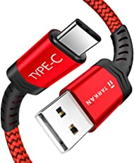 TARKAN USB Type-C to Type-A 3. 0 Male Nylon Braided Cable 1. 5 Meter Long Fast Charging Supports 5Gbps Data Transfer Speed (Red)