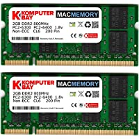 طقم MacMEMORY Apple 4GB من Komputerbay (وحدات 2X 2GB) PC2-6300 800MHz DDR2 SODIMM iMac وMacBook Memory