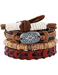 cosanter encanto pulsera Unisex Retro de piel multicapa cadena de mano para hombres mujeres Ladies Girls estudiantes partido prom decoración regalos de cumpleaños