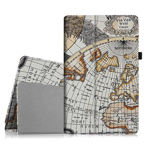 Fintie Hülle für Dragon Touch X10 10.6 Zoll Tablet PC - Folio Kunstleder Schutzhülle mit Standfunktion und Stylus Loop, Landkarte Design