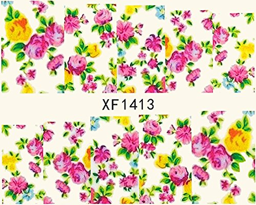 1 planche de Slider/Wrap/Full Cover Nail Stickers pour ongles, Hydrosoluble : XF de 1413 Fleurs