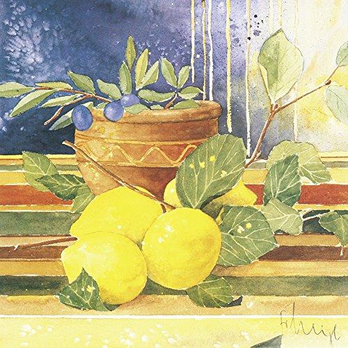 Artland Qualitätsbilder I Bild auf Leinwand Leinwandbilder Wandbilder 80 x 80 cm Stillleben Arrangements Lebensmittel Malerei Gelb B3ML Akzente des Sommers I (Akzent Wand Malerei)