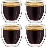 Creano Ensemble de 4 Verres à Espresso à Double Paroi, Verres Thermiques à Effet Flottant | 100ml