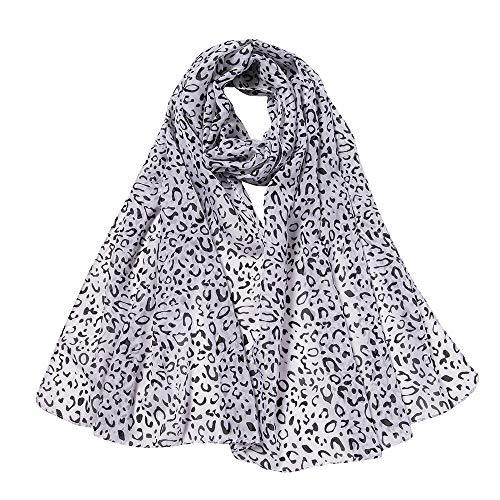 CANDLLY Schal Damen, Mode Damen Leopard Lang Drucken Schal Weiche Umhüllung Schal Lässig Chiffon Schals(Weiß,One ()