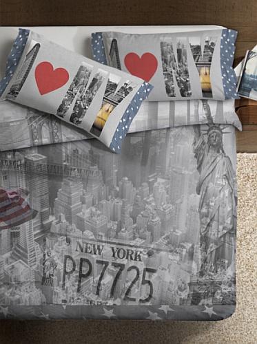 Ipersan New York Fine-Art Parure Copripiumino Fotografico, Piazzato, Cotone, Grigio/Blu, Matrimoniale