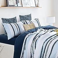 EnjoyBridal® - Ropa de cama para 2personas, funda de edredón, algodón sirsaca, 220x 240cm/240x 260cm/200x 200cm, suave y cálido, + 2fundas cuadradas, color blanco, azul y gris, azul, 220 x 240 cm