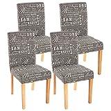 Mendler 4x Esszimmerstuhl Stuhl Lehnstuhl Littau ~ Textil mit Schriftzug, grau, helle Beine