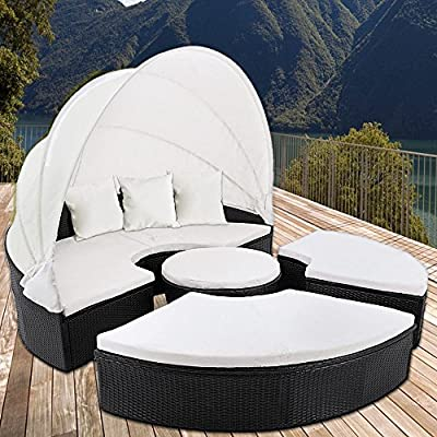 Rattan Garden Day Bed 185 Centimeters - Folding Canopy - Black Garden Sofa With Cream Cushions Outdoor Seat Lounger - low-cost UK sofabed shop.