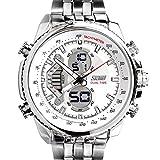 SunJas Reloj Electrónico de Negocios de Cuarzo Reloj Deportivo de Multifunciones Impermeable de 30m con Banda Ajustable de Acero para Hombres (Blanco)