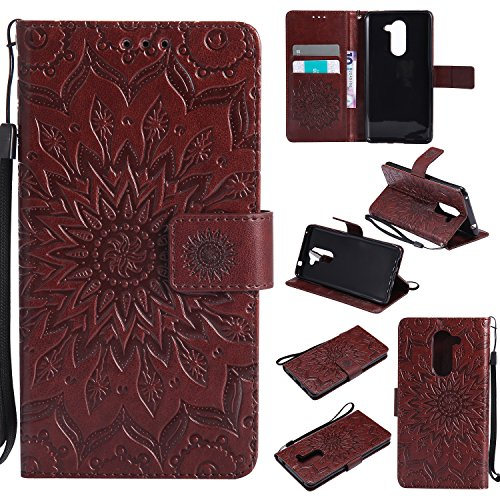 Price comparison product image Huawei Honor 6X Case Leather, Ecoway Sun flower embossed pattern PU Leather Stand Function Protective Cases Covers with Card Slot Holder Wallet Book Design Detachable Hand Strap for Huawei Honor 6X - brown