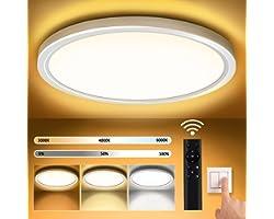 Plafon LED Techo Redondo Lámpara de Techo Moderna Regulable Ø30CM 3000K-6000K 18W Luz de Techo con Mando a Distancia 1600LM L