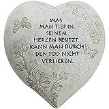 "COM-FOUR® Grabschmuck Deko Herz ""Tief im Herzen"", in Steinoptik, als Grabschmuck, ca. 15 x 15 x 9 cm (01 Stück - Spruch 9)"