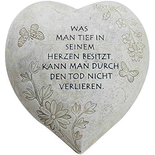 com-four® Grabschmuck Deko Herz Tief im Herzen, in Steinoptik, als Grabschmuck, ca. 15 x 15 x 9 cm (01 Stück - Spruch 9)