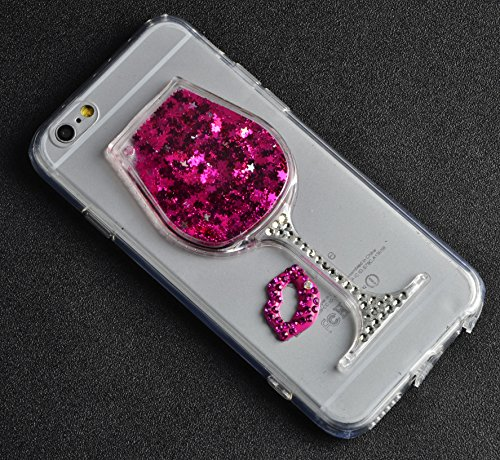 Souple TPU Étui pour iPhone 7 4.7 Pouces Clair Doux Silicone Gel Housse,Vandot Coque pour iPhone 7 Transparent Coque Ultra Mince Case Cover pour iPhone 7 [Conception de miroir de forme de coeur] 3D Bl Verre à vin-Rouge
