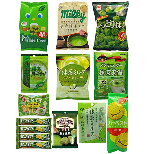 japanese-matcha-flavor-set-14-packs-of-snacks-sweets-and-candies