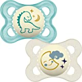 MAM Night Soothers 0+ Months (Pack of 2), Glow in the Dark Baby Soothers with Self Sterilising Travel Case, Newborn…
