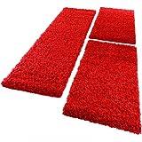 PHC Bettumrandung Läufer Shaggy Hochflor Langflor Teppich in Rot Läuferset 3Tlg, Grösse:2mal 70x140 1mal 70x250