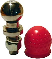 Anhängerkupplungskugel 50mm 3,5t Kugelkopfbolzen gerade Ackerschiene (3500 kg, silber+roter Abdeckball)