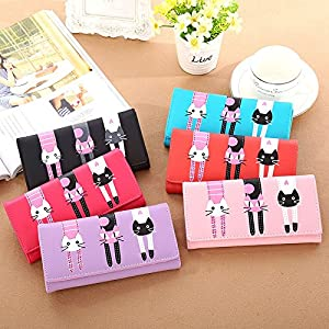 Hrph Women Cat Cartoon Wallet Long Creative Card Holder Casual Ladies Clutch PU Leather Coin Purse