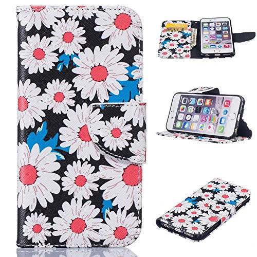 Firefish iPhone SE/5S Fall, [Ständer] [Magnetverschluss] PU Leder Wallet Case Kartenschlitze Kratzfest Cover Haut für Apple iPhone 5/5S/SE Apple iPhone 5/5S/SE Chrysanthemum (Protector Screen 5s Pink)