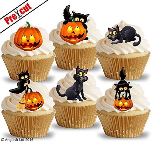 vorgeschnittenen Cat & Kürbis essbarem Reispapier/Waffel Papier Cupcake Kuchen Topper Halloween Party Geburtstag (Dekoration Cupcakes Halloween)