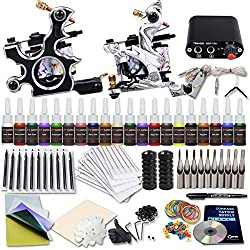 DragonHawk Complete Tattoo Kit 2 Machines Gun 20 Color Tattoo Inks Power Supply Grips Needles Set D238