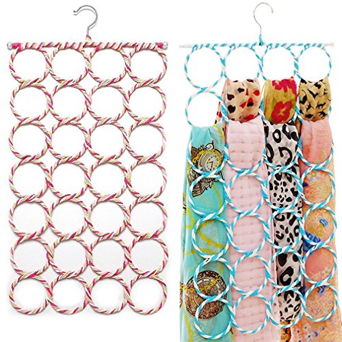 SUMERSHA-Schal-Bgel-Schalhalter-Aufhnger-Grtelhalter-Krawattenhalter-mit-28-Lchern-fr-Handtuch-Schal-Farbe-Random