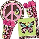 37-teiliges Party Set * FLOWER POWER * für Kindergeburtstag und Mottoparty // Kinder Geburtstag Motto Party 70er 80er 90er Mädchen Mädels Girl Girls Hippie
