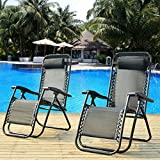 Merax Sonnenliege mit Kopfkissen klappbar und Verstellbar Gartenliege Relax-Liegestuhl (2, Schwarz)