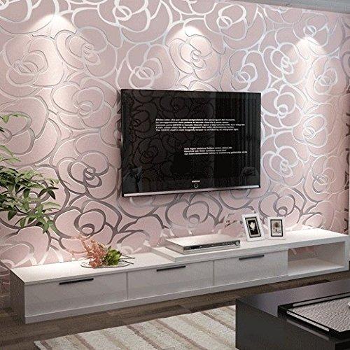 MCC Estratto di lusso moderno stampa 3d Wallpaper 1000 * 53cm (d'oro giallo & pallido rosa & metri gialli) , pale pink