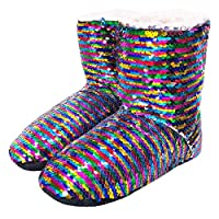 Dream Bridge Womens Non-Slip Sequin Slipper Boots Cosy Indoor Floor Sock Shoes